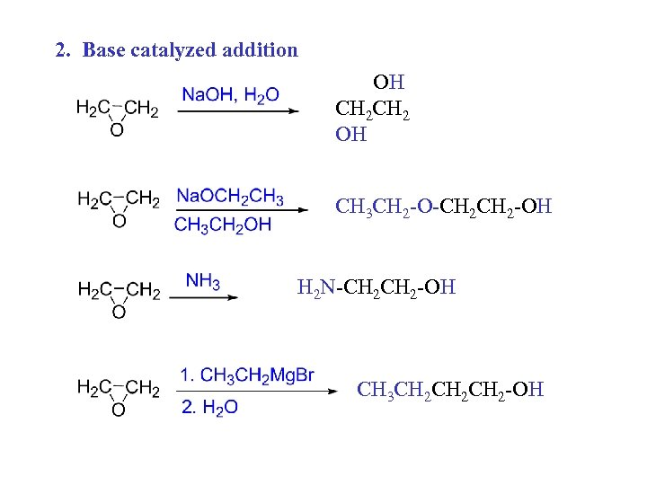 2. Base catalyzed addition OH CH 2 OH CH 3 CH 2 -O-CH 2
