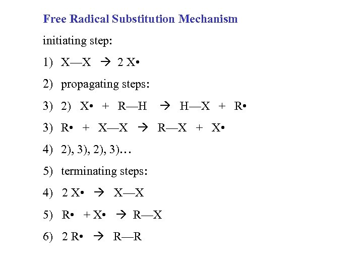 Free Radical Substitution Mechanism initiating step: 1) X—X 2 X • 2) propagating steps: