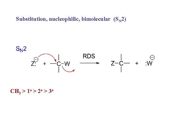 Substitution, nucleophilic, bimolecular (SN 2) CH 3 > 1 o > 2 o >