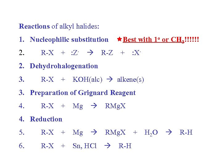Reactions of alkyl halides: 1. Nucleophilic substitution Best with 1 o or CH 3!!!!!!