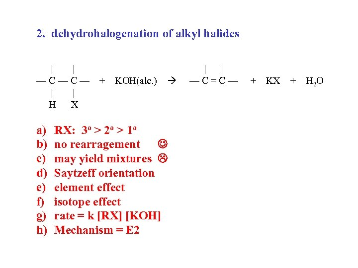 2. dehydrohalogenation of alkyl halides | | —C—C— | | H X a) b)