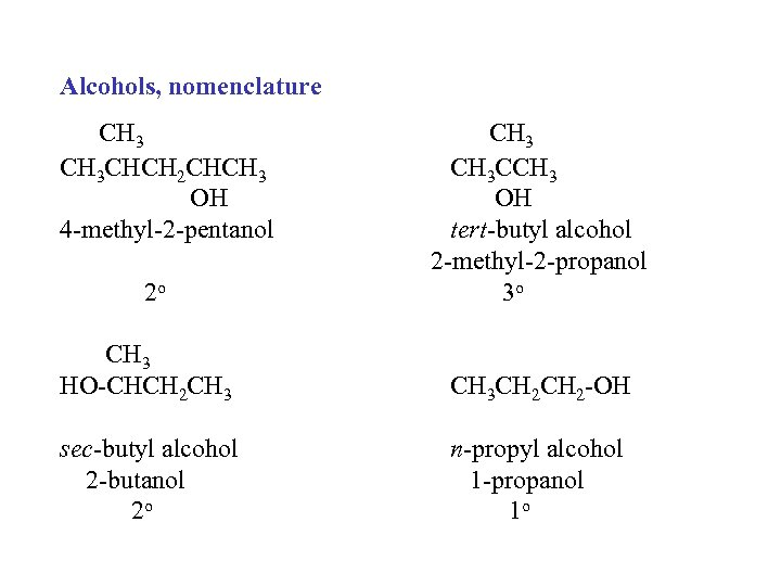 Alcohols, nomenclature CH 3 CHCH 2 CHCH 3 OH 4 -methyl-2 -pentanol 2 o