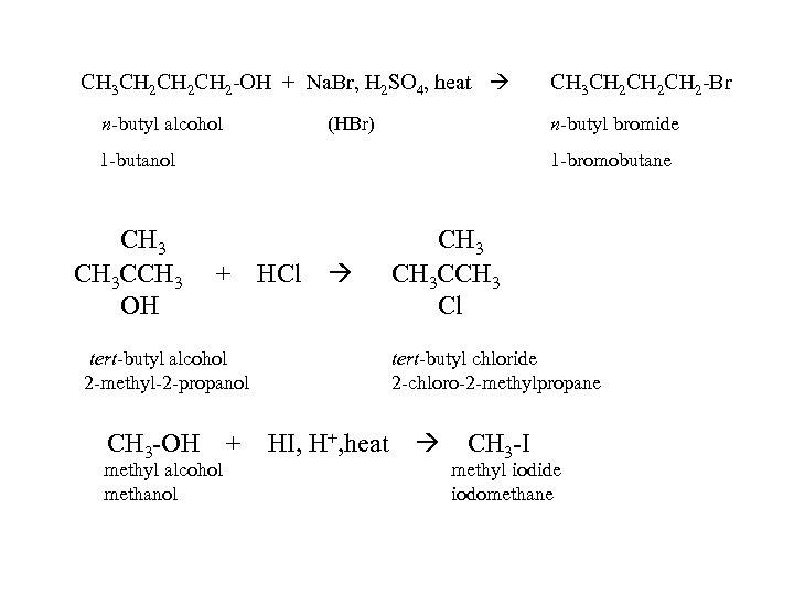 CH 3 CH 2 CH 2 -OH + Na. Br, H 2 SO 4,