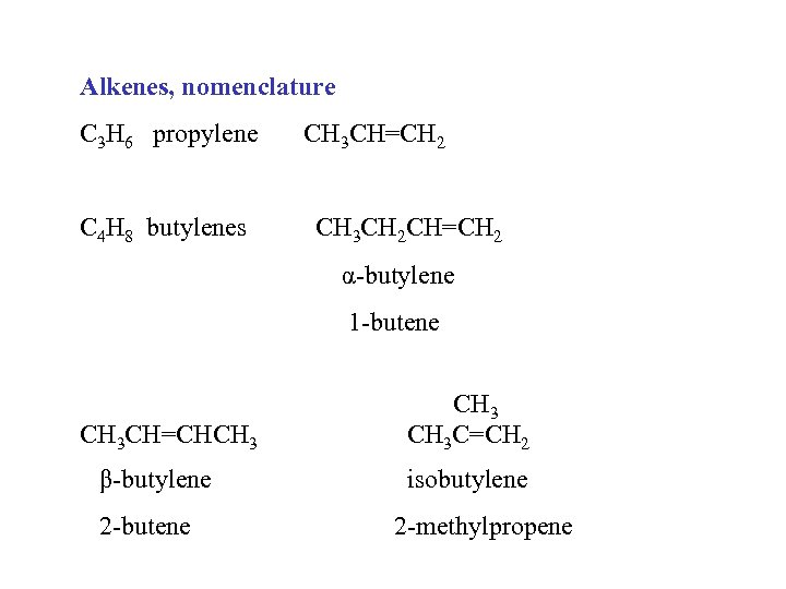 Alkenes, nomenclature C 3 H 6 propylene C 4 H 8 butylenes CH 3