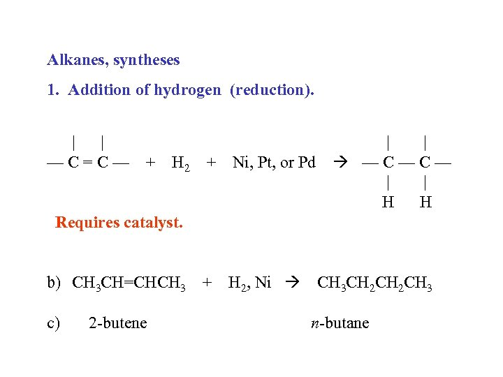 Alkanes, syntheses 1. Addition of hydrogen (reduction). | | —C=C— + H 2 +