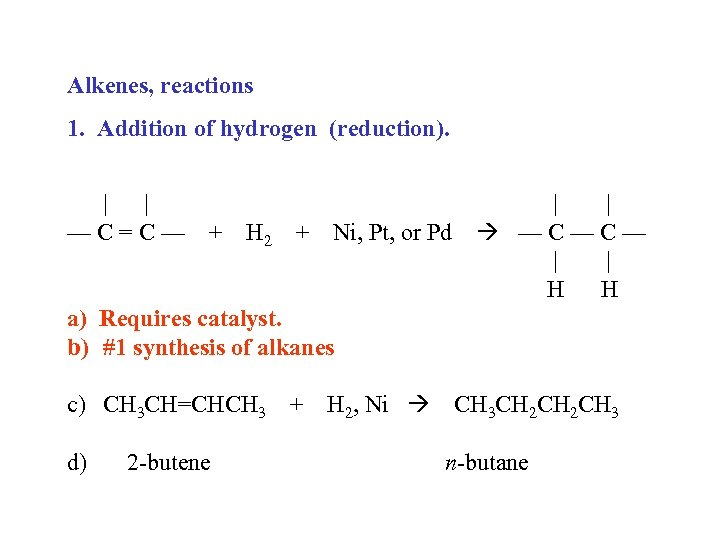 Alkenes, reactions 1. Addition of hydrogen (reduction). | | —C=C— + H 2 +