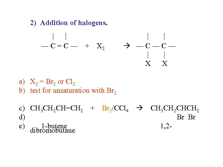 2) Addition of halogens. | | —C=C— + X 2 | | —C—C— |