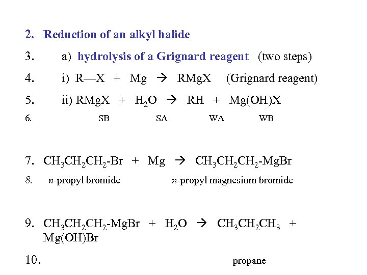 2. Reduction of an alkyl halide 3. a) hydrolysis of a Grignard reagent (two