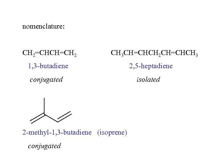 nomenclature: CH 2=CHCH=CH 2 CH 3 CH=CHCH 2 CH=CHCH 3 1, 3 -butadiene conjugated