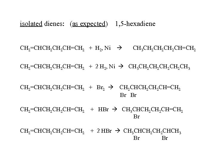isolated dienes: (as expected) 1, 5 -hexadiene CH 2=CHCH 2 CH=CH 2 + H