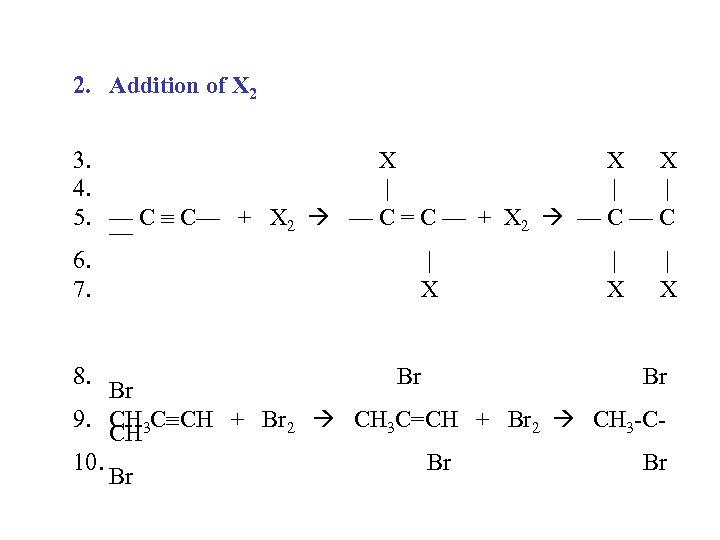 2. Addition of X 2 3. X X X 4.       5.