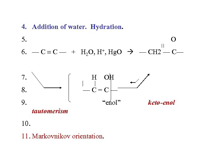 4. Addition of water. Hydration. 5. O 6. — C C — + H