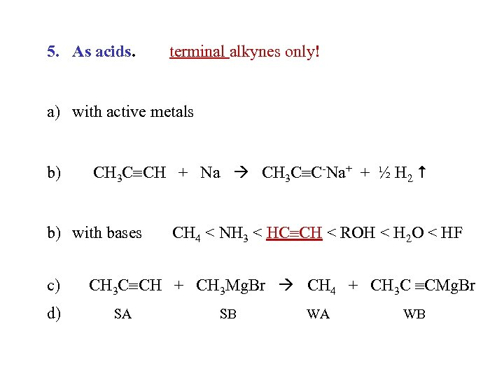 5. As acids. terminal alkynes only! a) with active metals b) CH 3 C