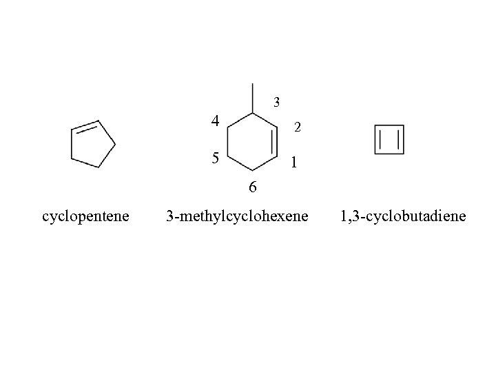 3 4 2 5 1 6 cyclopentene 3 -methylcyclohexene 1, 3 -cyclobutadiene