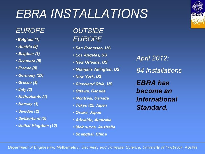 EBRA INSTALLATIONS EUROPE • Belgium (1) OUTSIDE EUROPE • Austria (8) • San Francisco,
