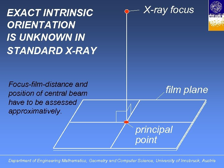 EXACT INTRINSIC ORIENTATION IS UNKNOWN IN STANDARD X-RAY Focus-film-distance and position of central beam