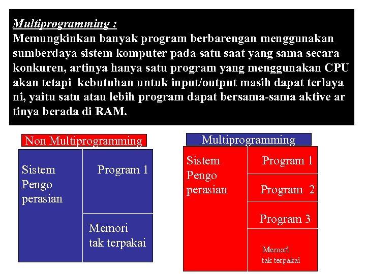 Multiprogramming : Memungkinkan banyak program berbarengan menggunakan sumberdaya sistem komputer pada satu saat yang