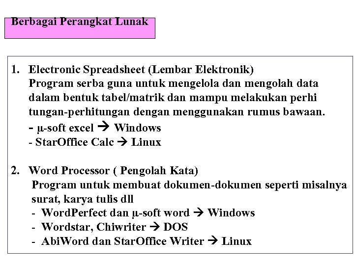 Berbagai Perangkat Lunak 1. Electronic Spreadsheet (Lembar Elektronik) Program serba guna untuk mengelola dan