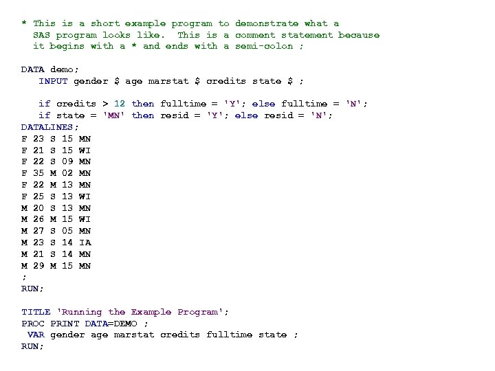 * This is a short example program to demonstrate what a SAS program looks