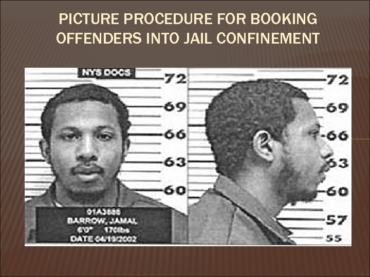 PICTURE PROCEDURE FOR BOOKING OFFENDERS INTO JAIL CONFINEMENT