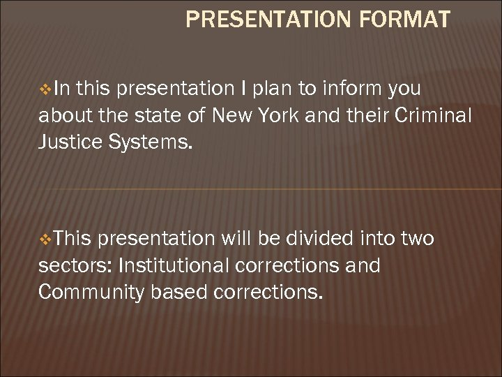 PRESENTATION FORMAT v. In this presentation I plan to inform you about the state