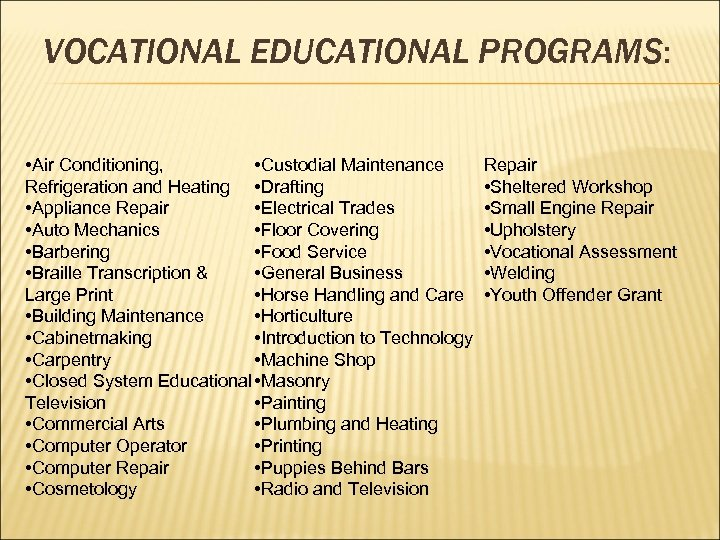 VOCATIONAL EDUCATIONAL PROGRAMS: • Air Conditioning, • Custodial Maintenance Refrigeration and Heating • Drafting