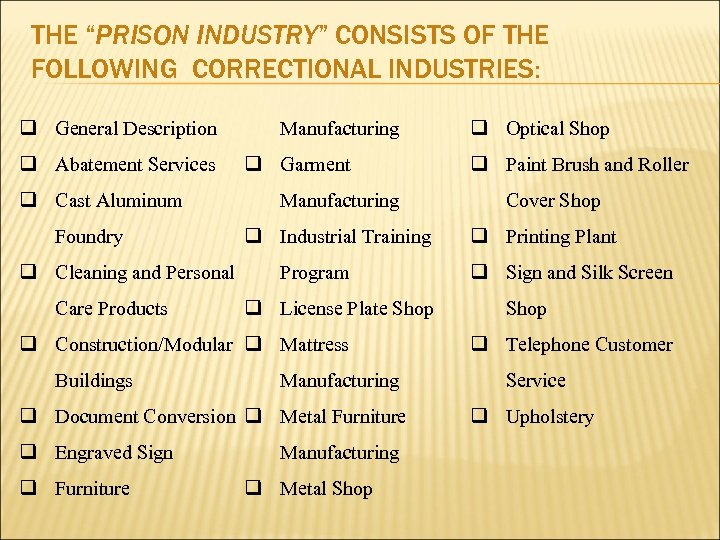 "THE ""PRISON INDUSTRY"" CONSISTS OF THE FOLLOWING CORRECTIONAL INDUSTRIES: q General Description q Abatement"