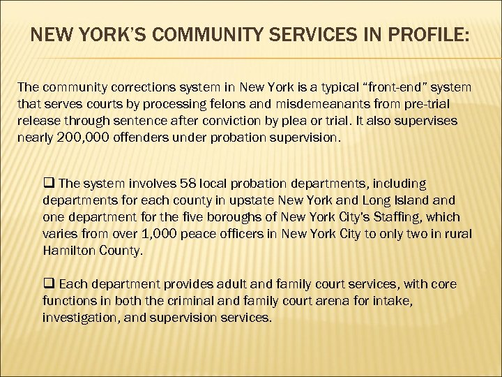 NEW YORK'S COMMUNITY SERVICES IN PROFILE: The community corrections system in New York is