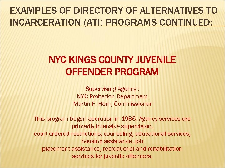 EXAMPLES OF DIRECTORY OF ALTERNATIVES TO INCARCERATION (ATI) PROGRAMS CONTINUED: NYC KINGS COUNTY JUVENILE