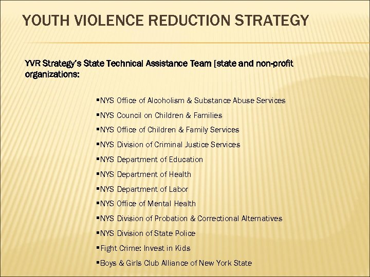 YOUTH VIOLENCE REDUCTION STRATEGY YVR Strategy's State Technical Assistance Team [state and non-profit organizations: