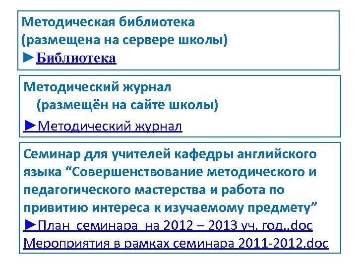 Методическая библиотека (размещена на сервере школы) ►Библиотека Методический журнал (размещён на сайте школы) ►Методический
