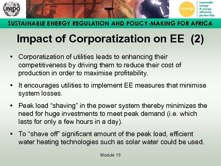 SUSTAINABLE ENERGY REGULATION AND POLICY-MAKING FOR AFRICA Impact of Corporatization on EE (2) •
