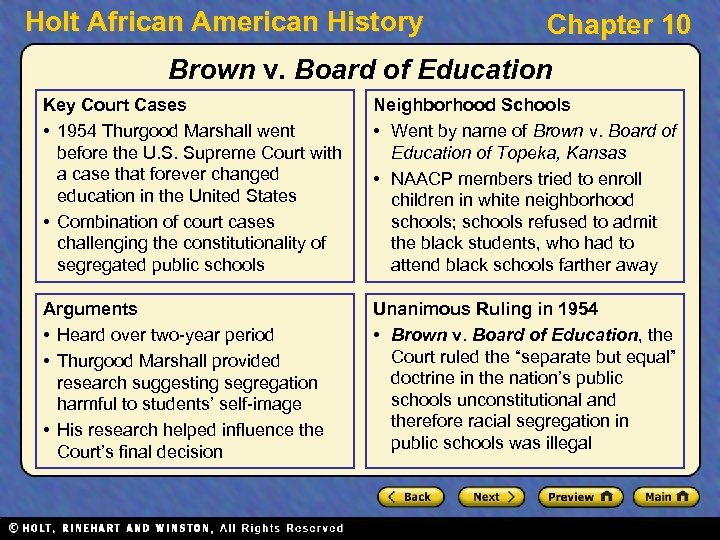 Holt African American History Chapter 10 Brown v. Board of Education Key Court Cases