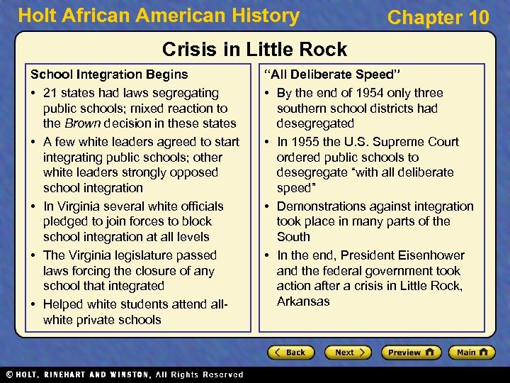 Holt African American History Chapter 10 Crisis in Little Rock School Integration Begins •