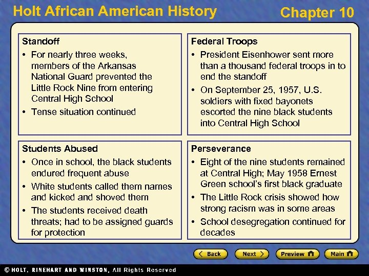 Holt African American History Chapter 10 Standoff • For nearly three weeks, members of