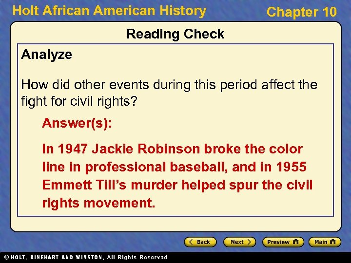 Holt African American History Chapter 10 Reading Check Analyze How did other events during