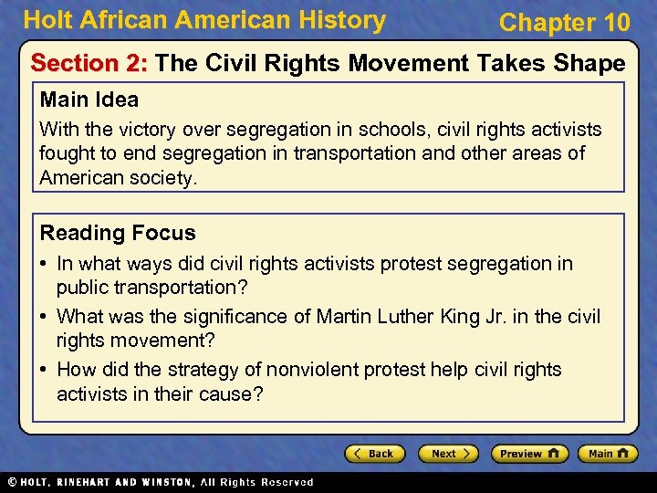 Holt African American History Chapter 10 Section 2: The Civil Rights Movement Takes Shape