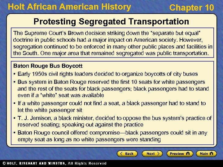 Holt African American History Chapter 10 Protesting Segregated Transportation The Supreme Court's Brown decision