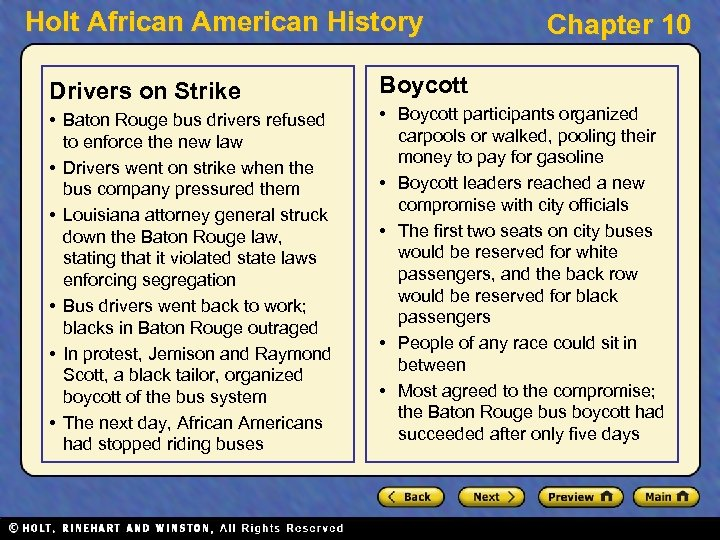 Holt African American History Drivers on Strike • Baton Rouge bus drivers refused to