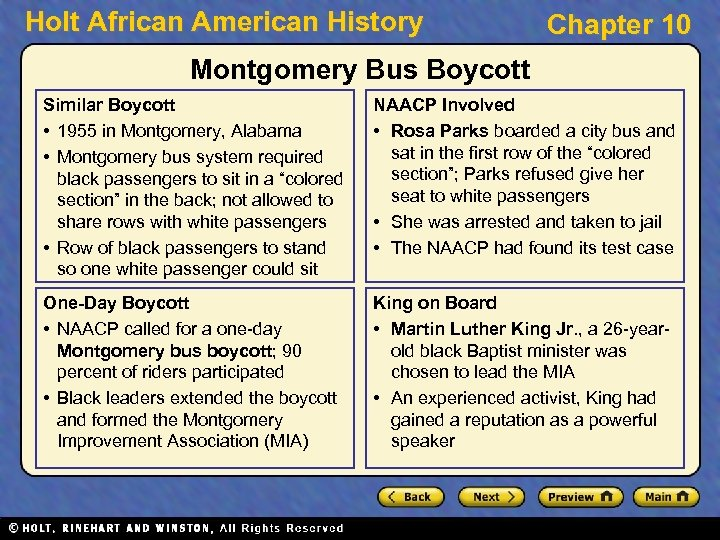 Holt African American History Chapter 10 Montgomery Bus Boycott Similar Boycott • 1955 in