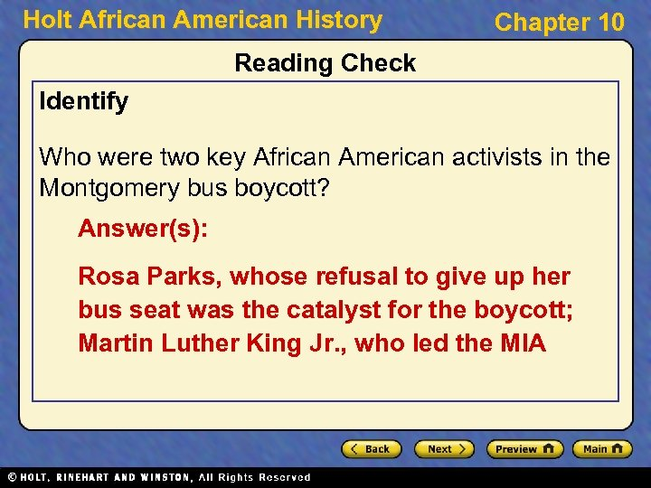 Holt African American History Chapter 10 Reading Check Identify Who were two key African