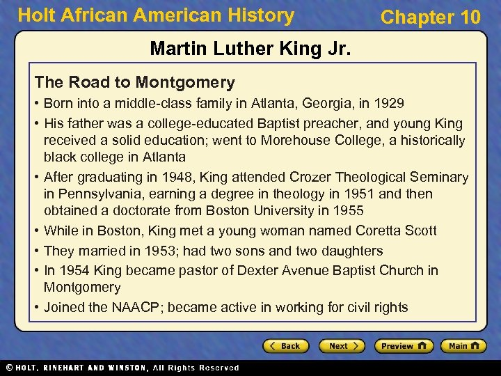 Holt African American History Chapter 10 Martin Luther King Jr. The Road to Montgomery