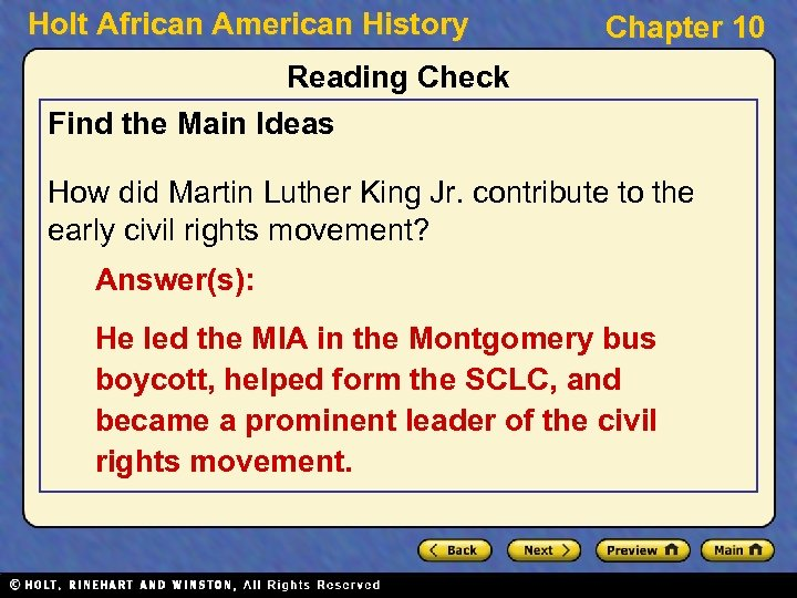 Holt African American History Chapter 10 Reading Check Find the Main Ideas How did