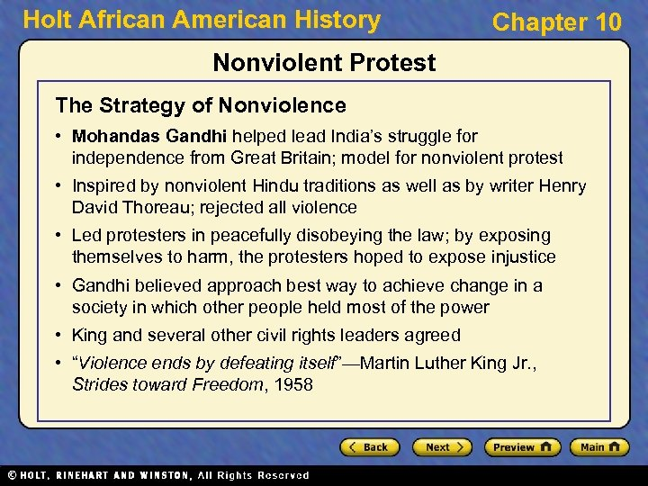 Holt African American History Chapter 10 Nonviolent Protest The Strategy of Nonviolence • Mohandas