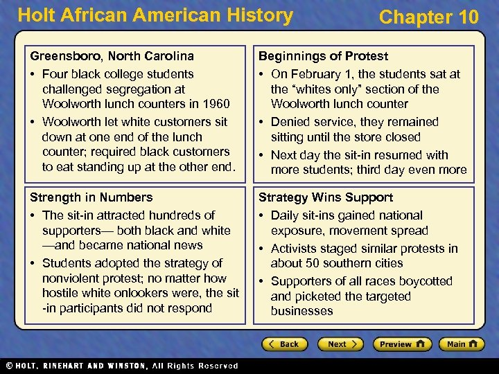 Holt African American History Chapter 10 Greensboro, North Carolina • Four black college students