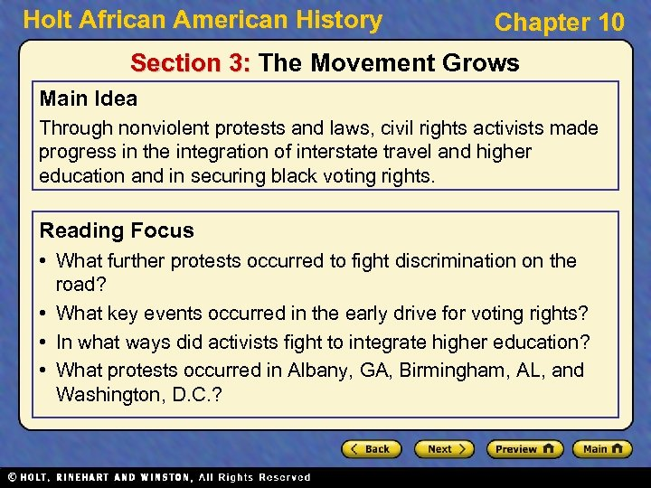 Holt African American History Chapter 10 Section 3: The Movement Grows Main Idea Through
