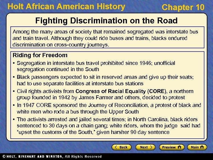 Holt African American History Chapter 10 Fighting Discrimination on the Road Among the many