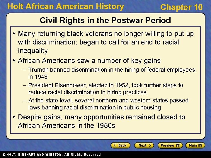 Holt African American History Chapter 10 Civil Rights in the Postwar Period • Many