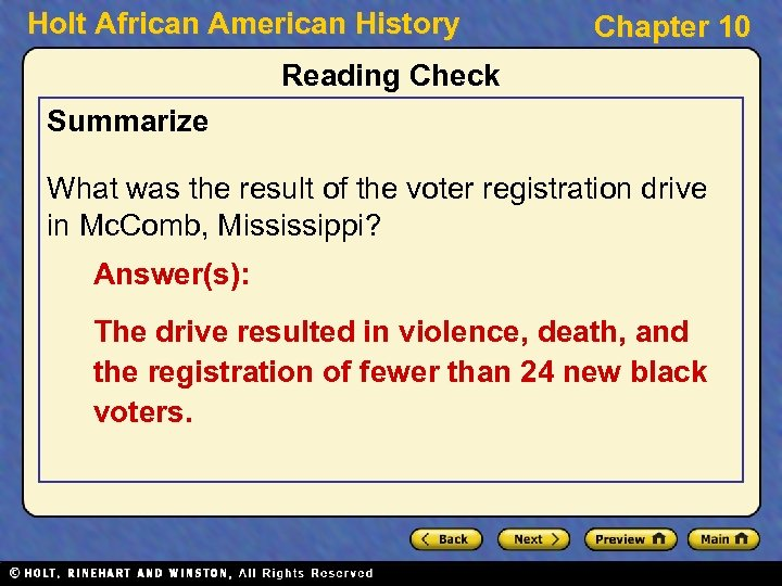 Holt African American History Chapter 10 Reading Check Summarize What was the result of