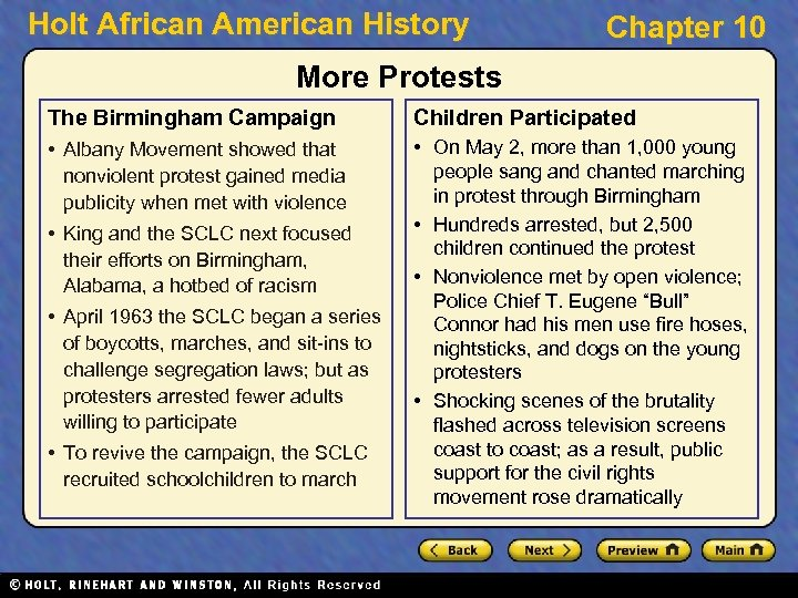 Holt African American History Chapter 10 More Protests The Birmingham Campaign Children Participated •